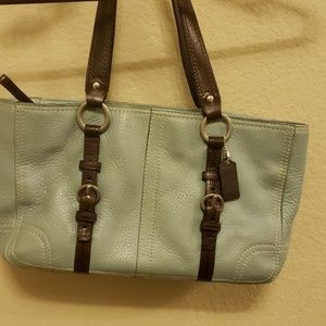Coach robins egg and brown tote